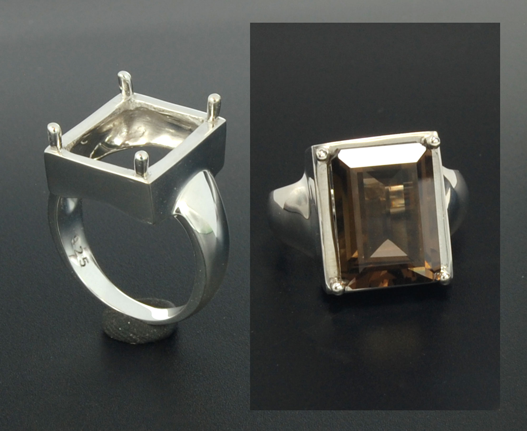 Setting silver ring octagon 14 x 10