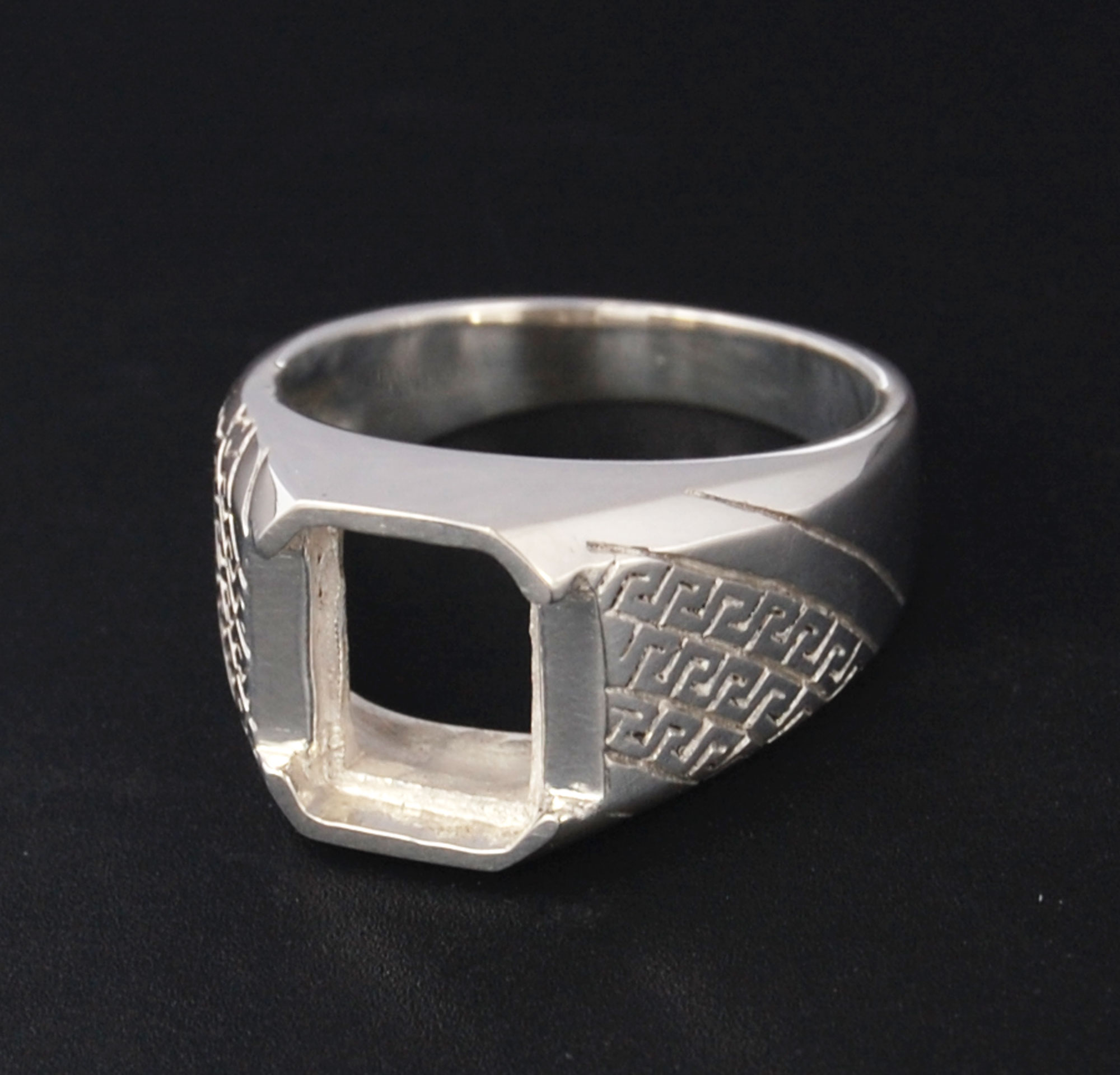 Silver ring setting octagon 11 x 9