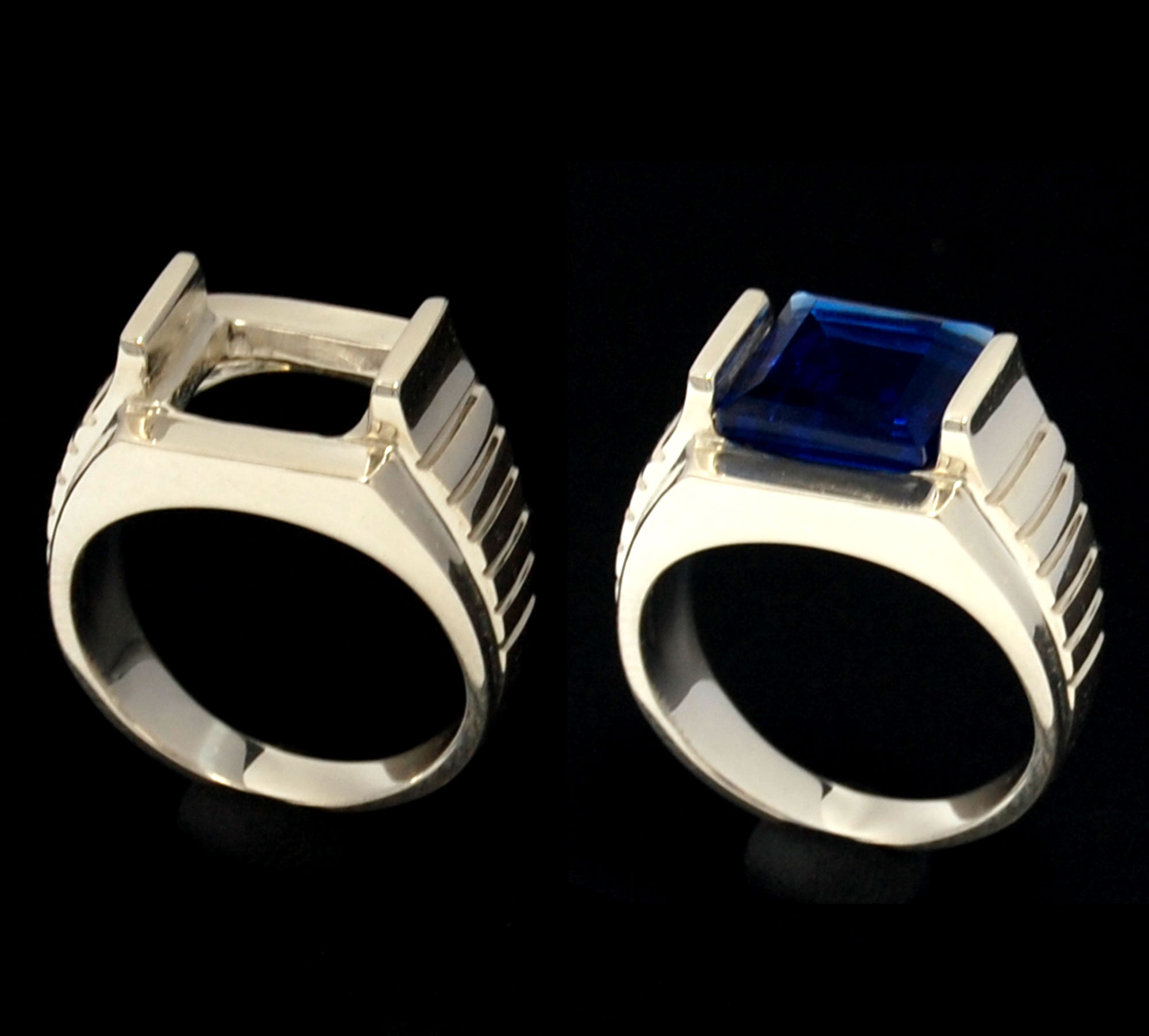 Blank silver ring radiant 10 x 10