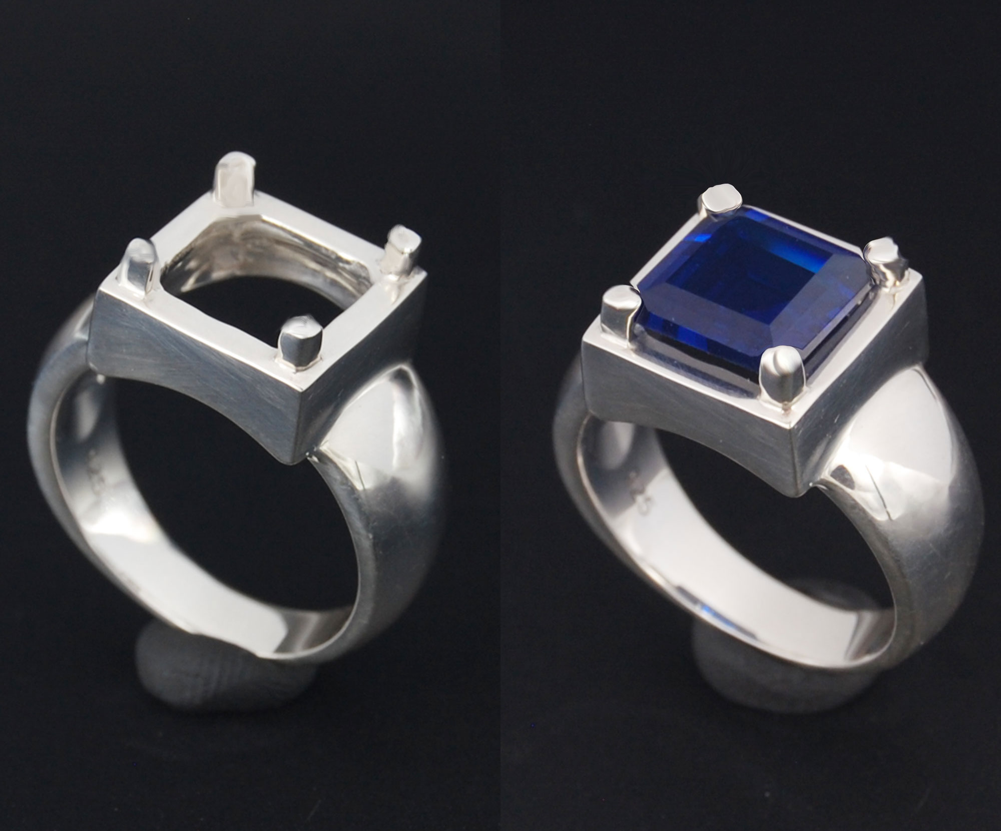 Setting silver ring radiant 10 x 10