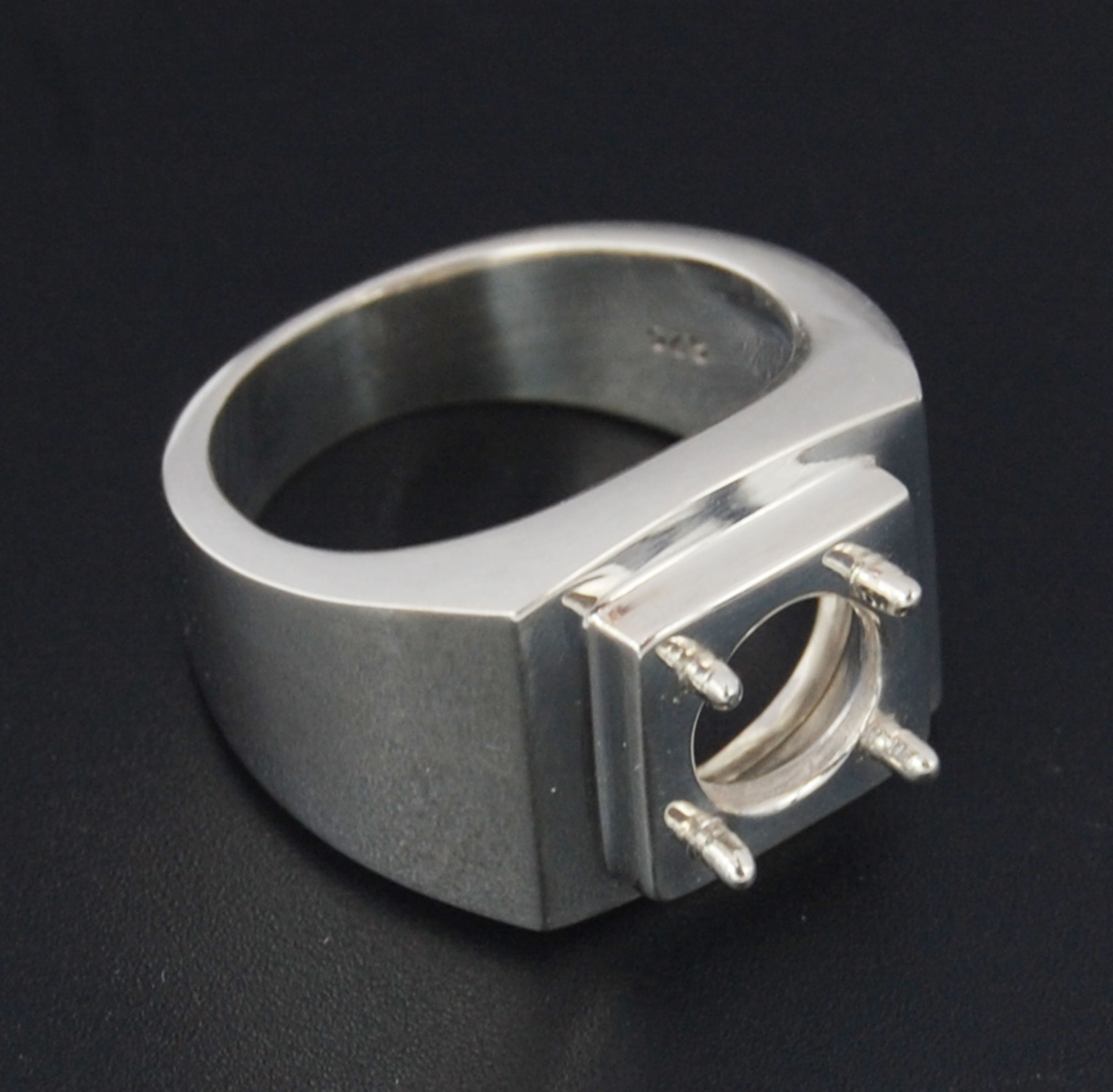 Semi mount silver ring round 10 mm