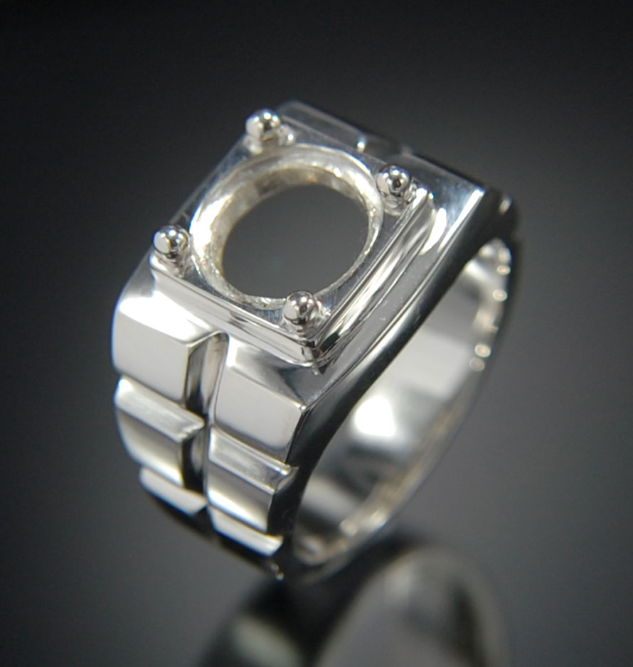Setting silver ring round 10 mm